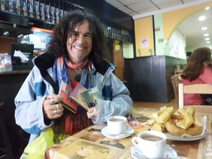 CD's, Churros and Chocolate makes Kev a happy boy....