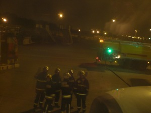 Firemen at Liverpool airport discuss whether to allow passengers to dehydrate...