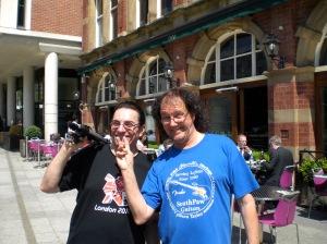 Two idiots enjoying the Leeds sunshine...