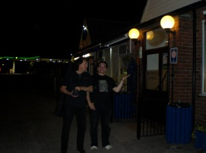 Fos and Simon outside Redbecks, as we headed for a post-gig breakfast!